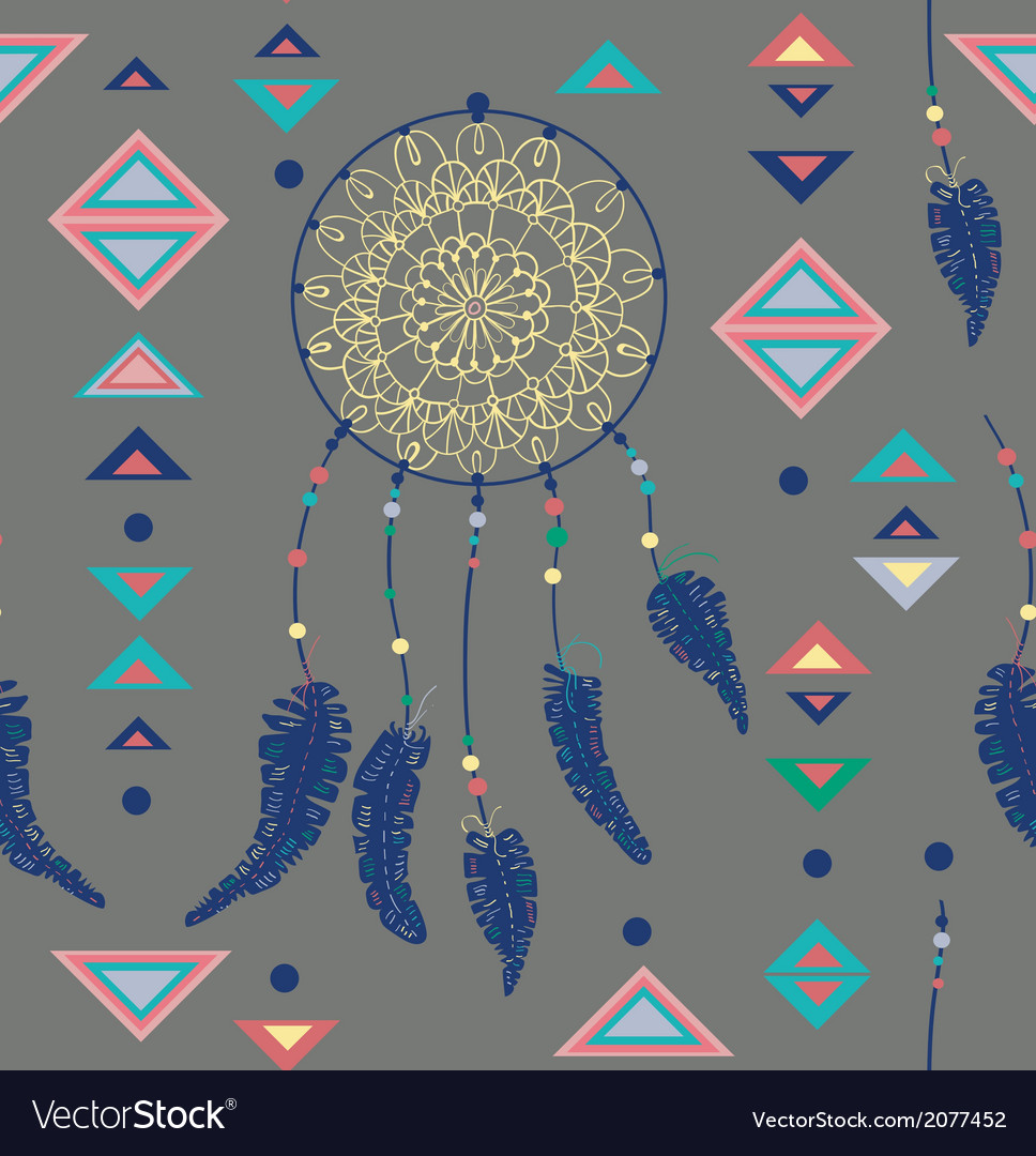 Seamless pattern of color american indians vector | Price: 1 Credit (USD $1)
