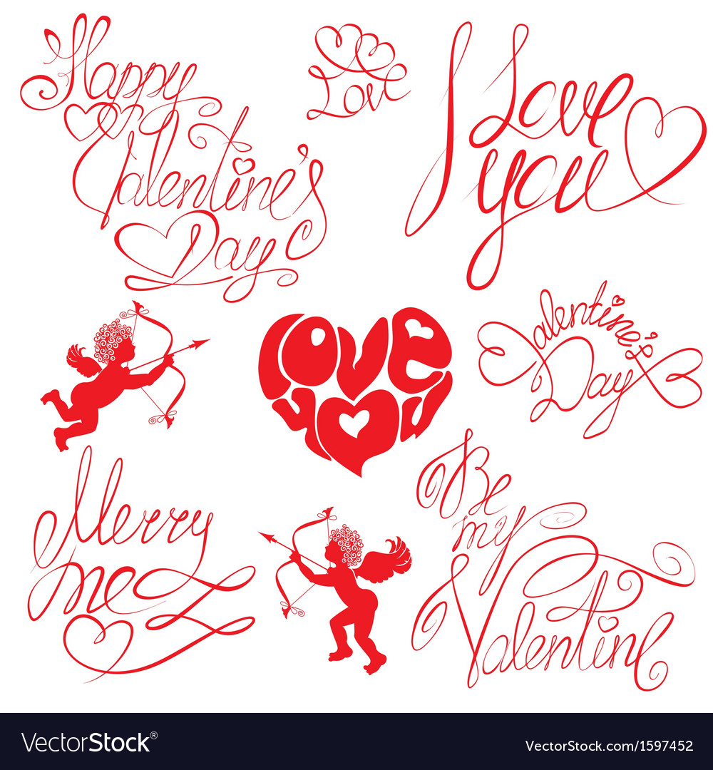 Set of hand written text happy valentines day vector | Price: 1 Credit (USD $1)