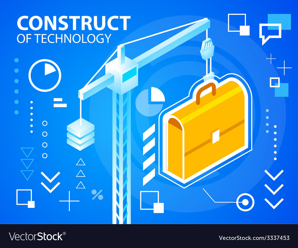 Bright construct crine and work suitcase on vector   Price: 3 Credit (USD $3)