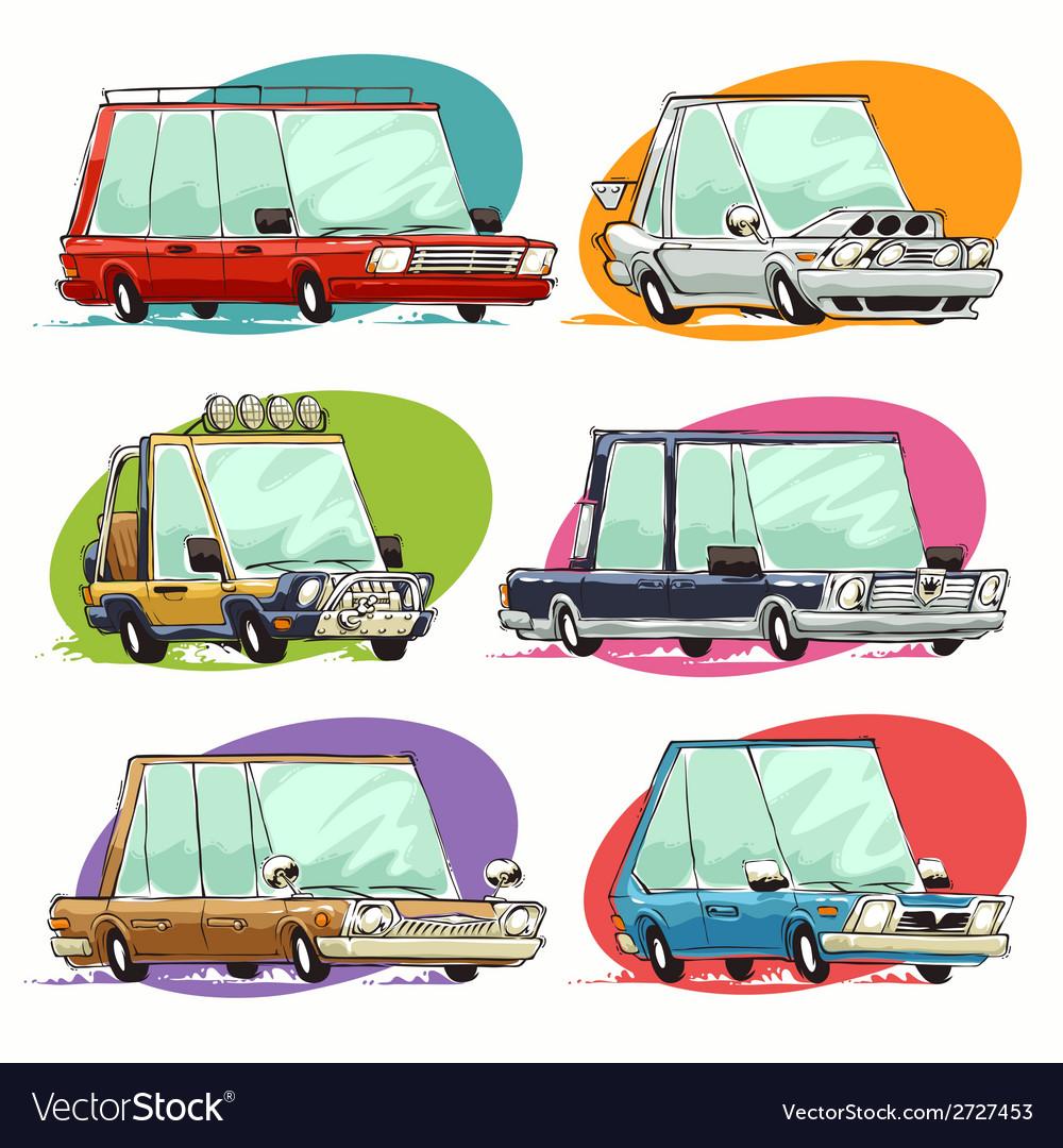 Cartoon cars set vector   Price: 1 Credit (USD $1)