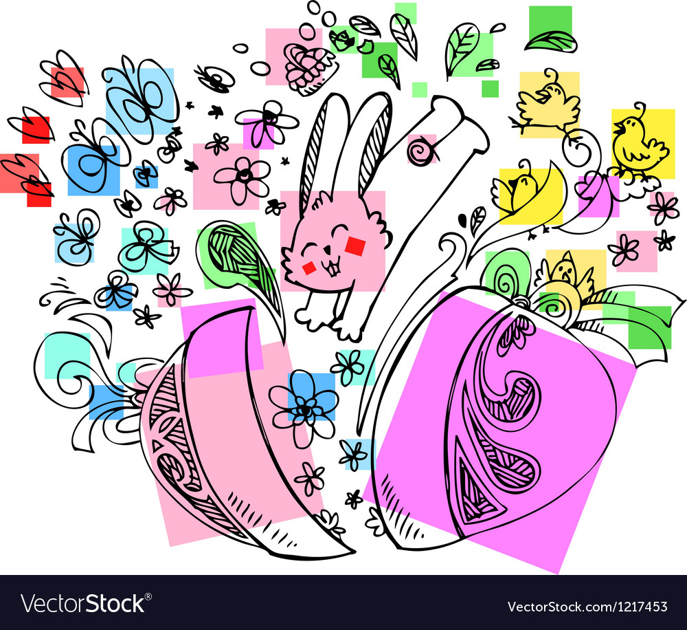 Decorated easter egg with jumping bunny vector | Price: 1 Credit (USD $1)