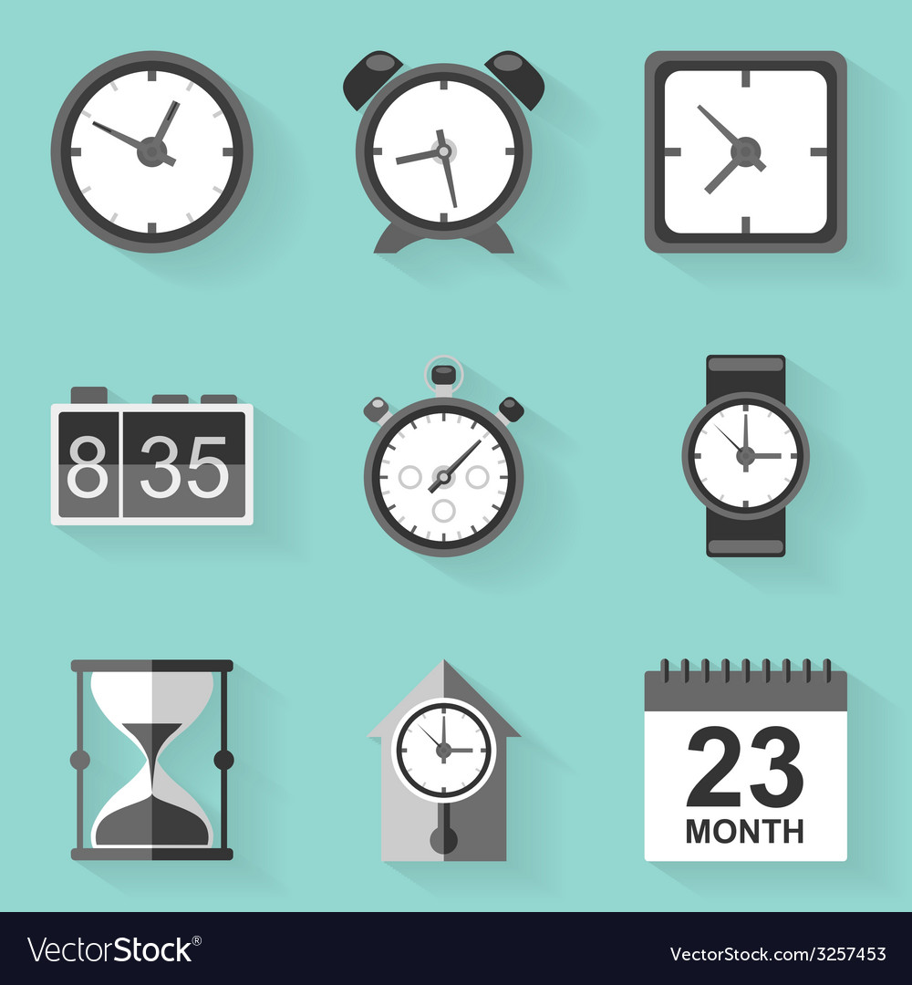 Flat icon set time clock white style vector | Price: 1 Credit (USD $1)