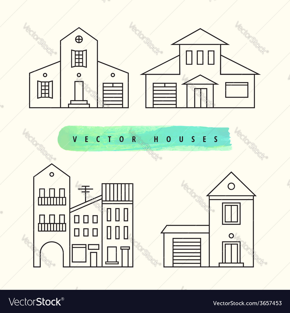 Houses set drawn black outline on a light vector | Price: 1 Credit (USD $1)