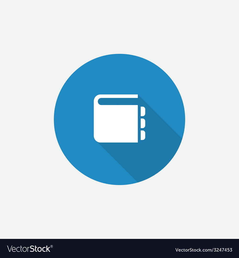 Notepad flat blue simple icon with long shadow vector | Price: 1 Credit (USD $1)