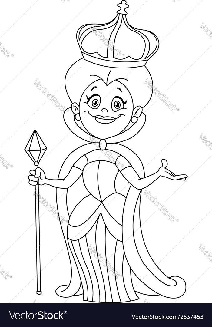 Outlined queen vector | Price: 1 Credit (USD $1)
