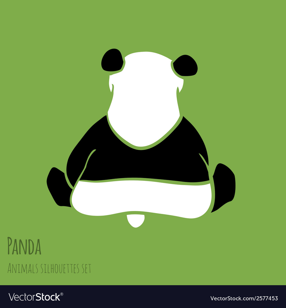 Set of panda silhouettes vector | Price: 1 Credit (USD $1)