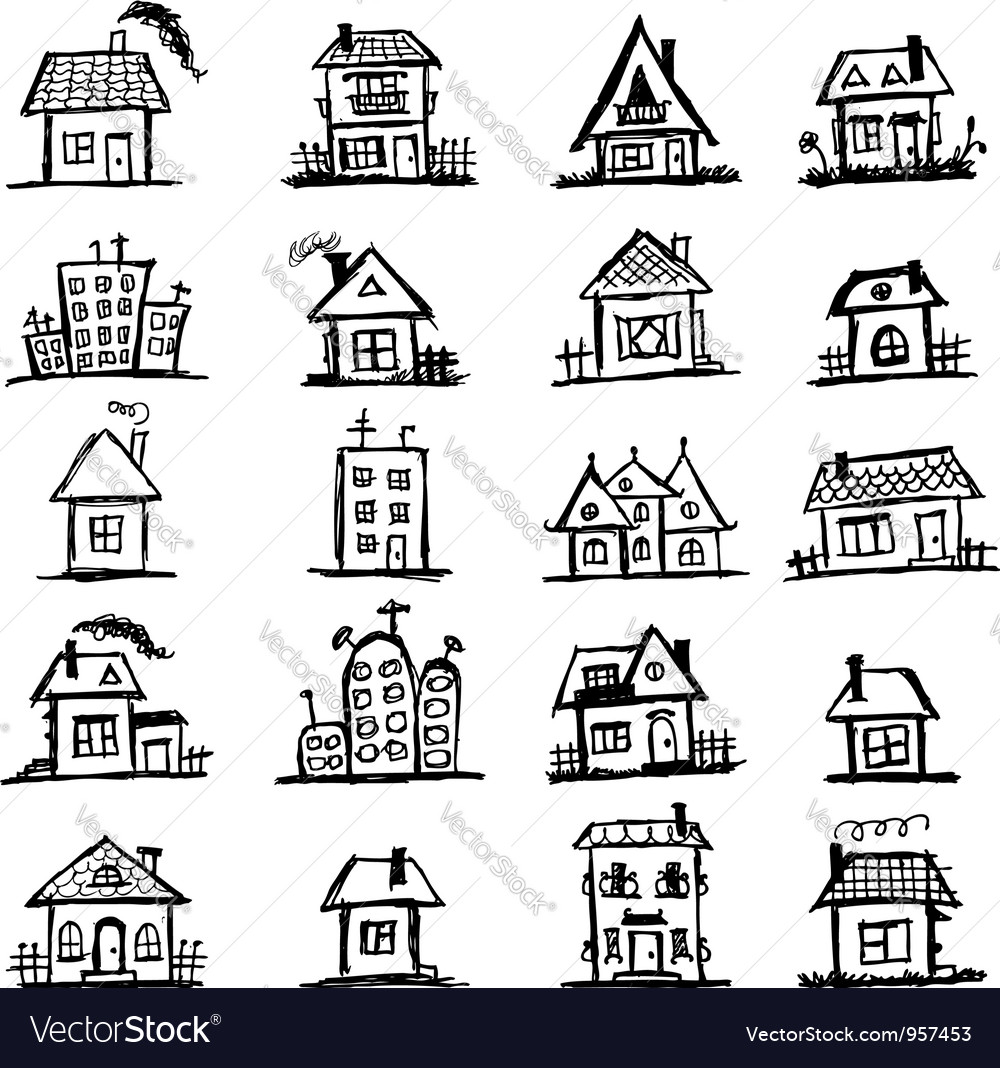 Sketch of art houses for your design vector | Price: 1 Credit (USD $1)