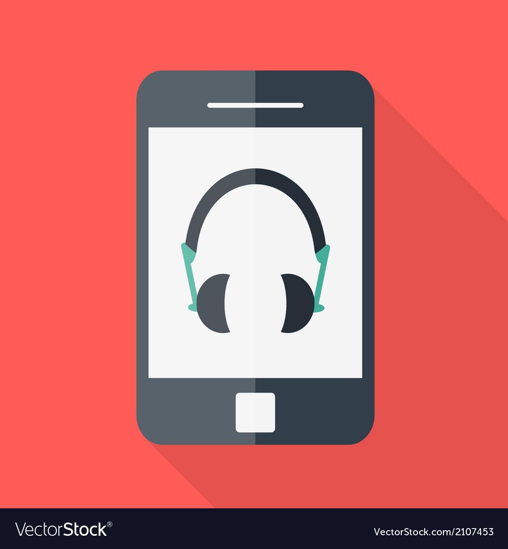 Smartphone flat design headphones icon vector | Price: 1 Credit (USD $1)