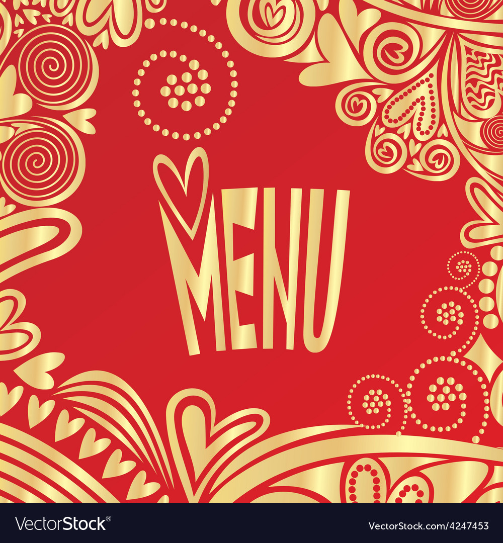 Valentines day romantic menu red and gold vector | Price: 1 Credit (USD $1)