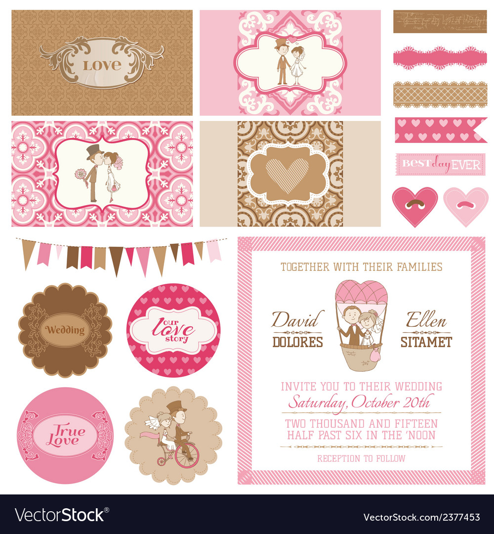 Vintage wedding set vector | Price: 1 Credit (USD $1)