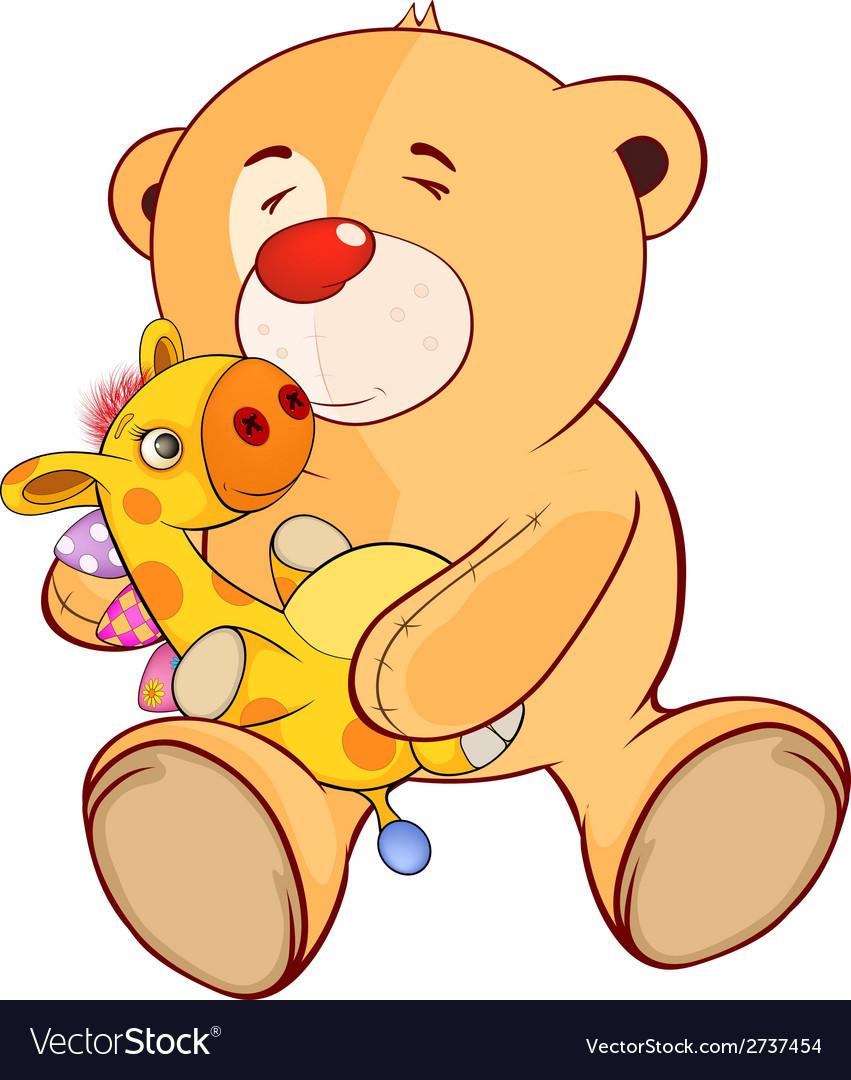 A stuffed toy bear cub and a toy giraffe cartoon vector | Price: 1 Credit (USD $1)