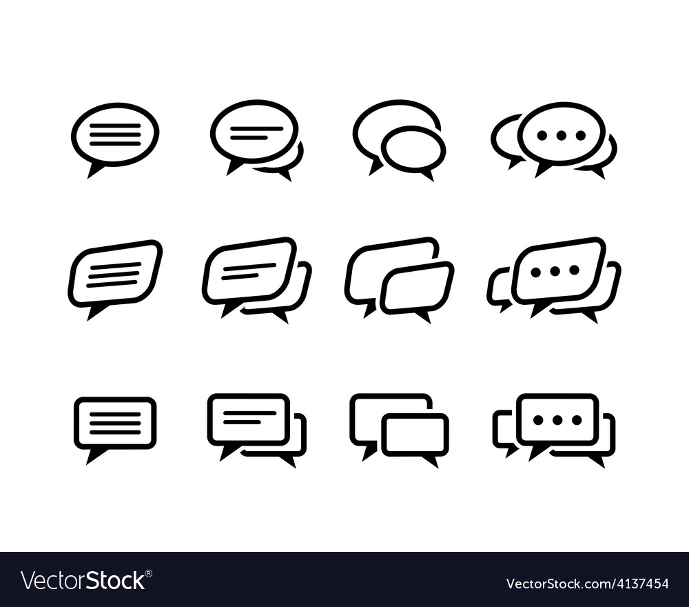 Black line speech bubble icons set vector | Price: 1 Credit (USD $1)