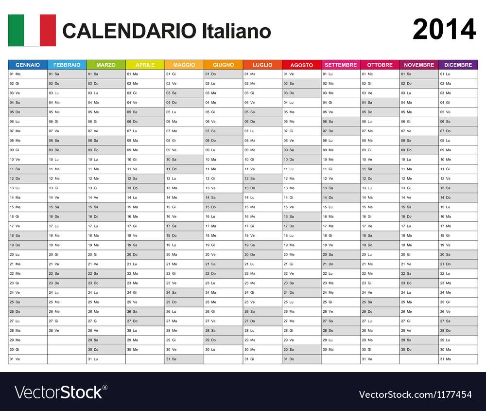 Calendar 2014 italy type 12 vector | Price: 1 Credit (USD $1)