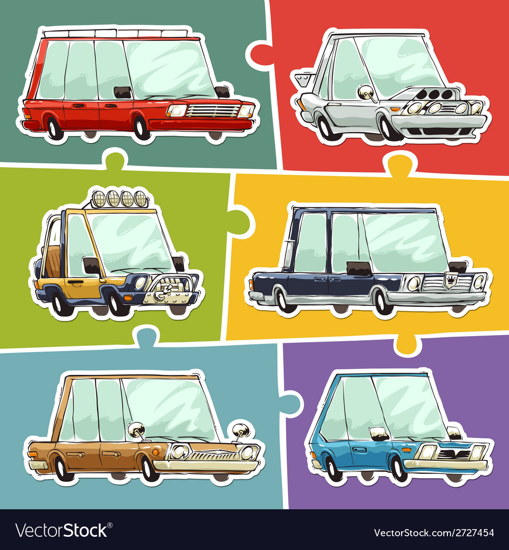 Cartoon cars stickers set vector | Price: 1 Credit (USD $1)