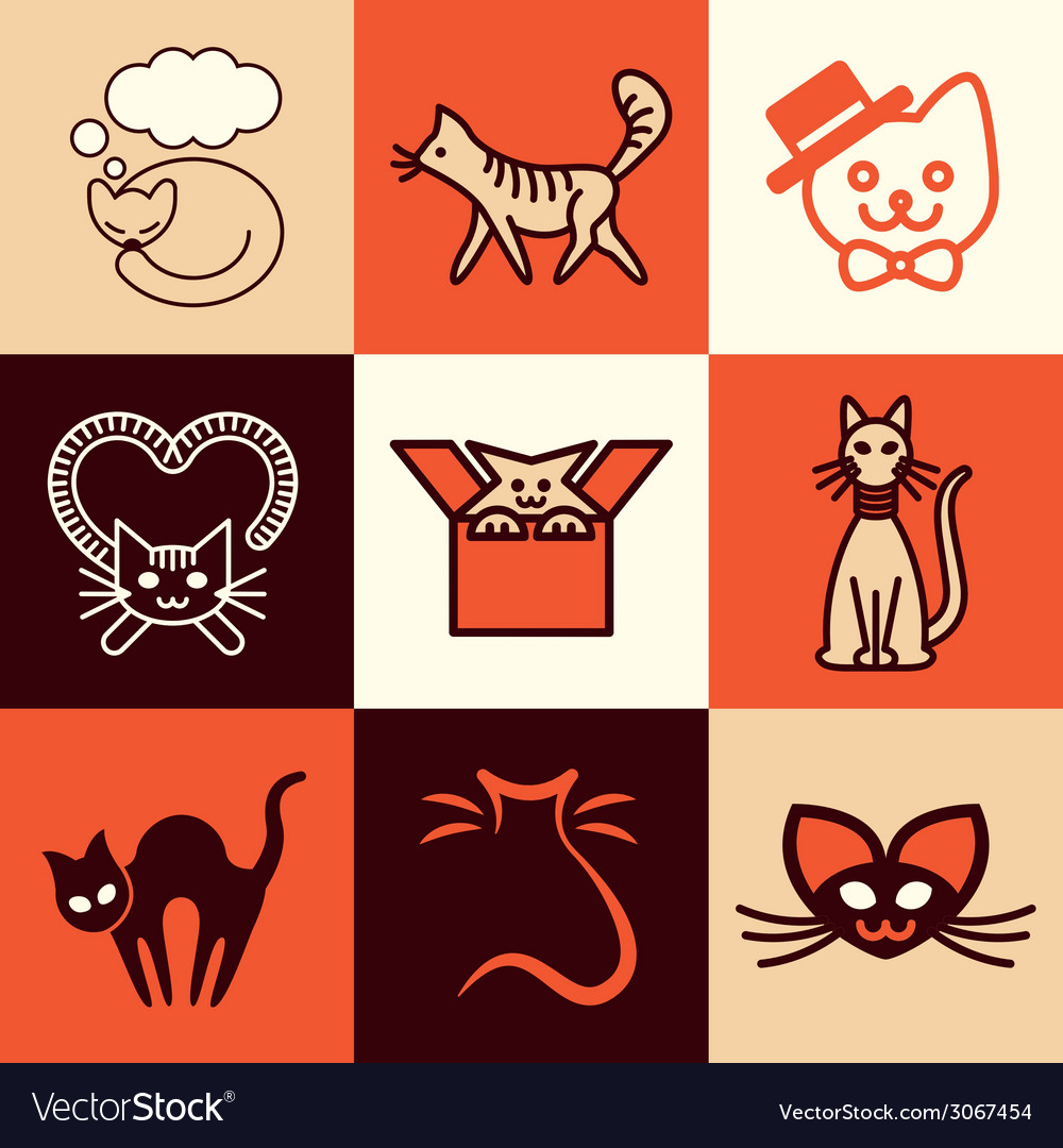 Cats logo icons vector | Price: 1 Credit (USD $1)