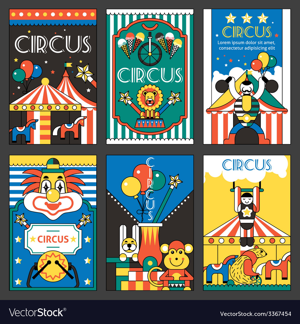 Circus retro posters vector | Price: 1 Credit (USD $1)