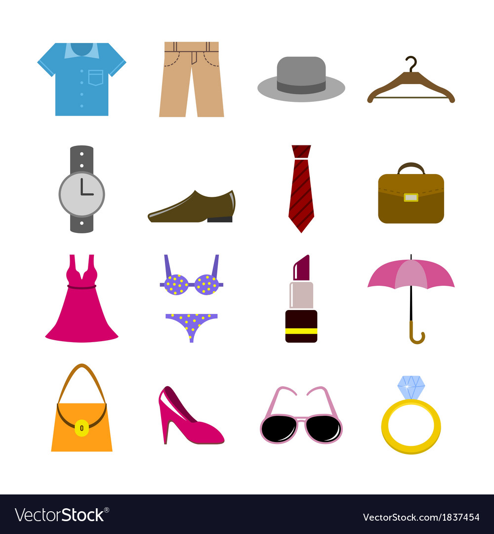 Collection of clothes accessories vector | Price: 1 Credit (USD $1)
