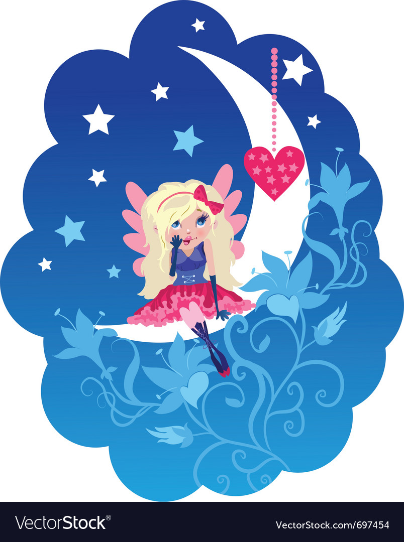 Cute love angel cartoon vector | Price: 1 Credit (USD $1)