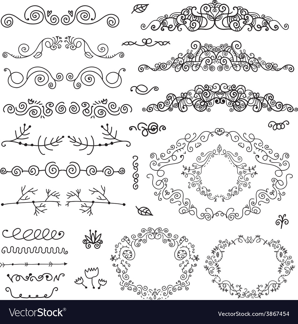 Floral decor set of hand drawn vintage vector | Price: 1 Credit (USD $1)