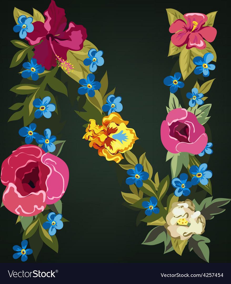 N letter flower capital alphabet colorful font vector | Price: 1 Credit (USD $1)
