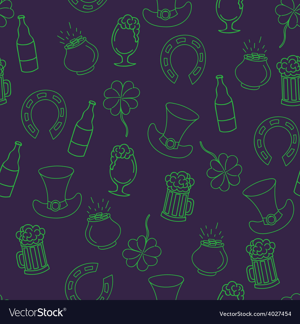Saint patricks day seamless pattern with beer pot vector | Price: 1 Credit (USD $1)