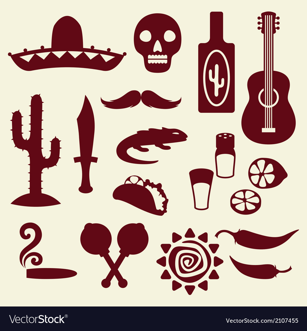 Collection of mexican icons in native style vector | Price: 1 Credit (USD $1)