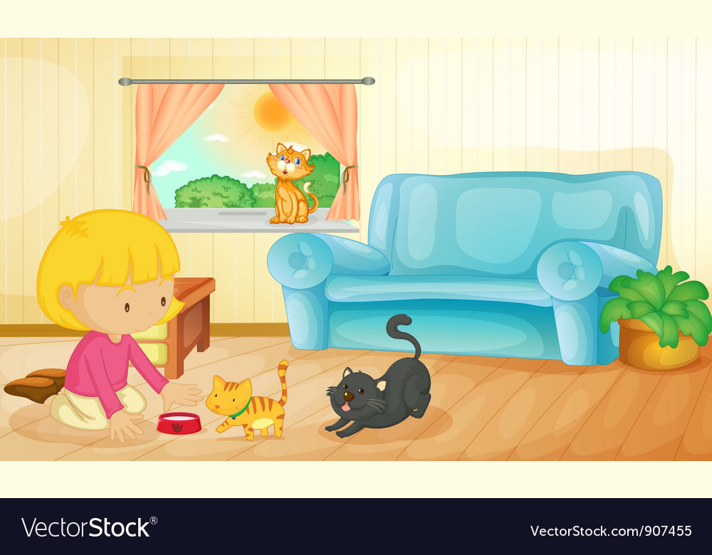 Feeding the cats vector | Price: 3 Credit (USD $3)
