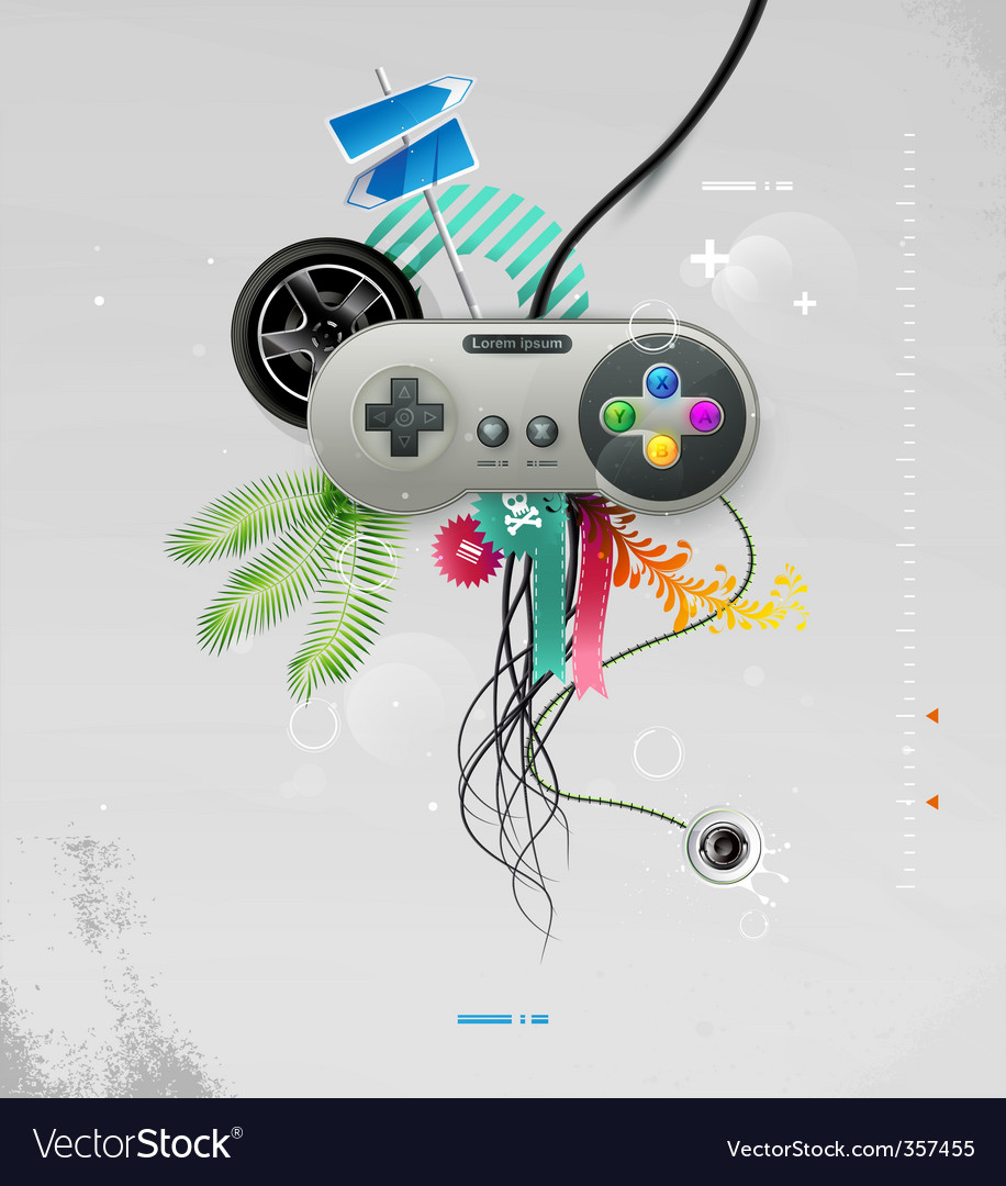 joystick with buttons vector | Price: 3 Credit (USD $3)