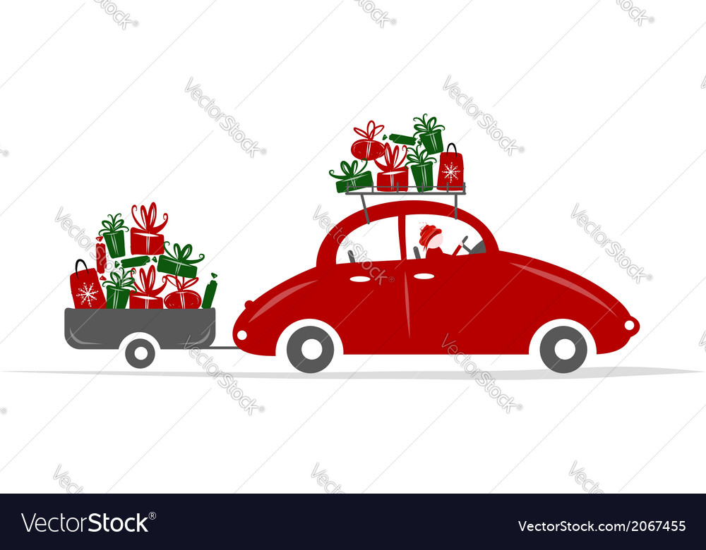 Man driving red car with gift boxes vector | Price: 1 Credit (USD $1)