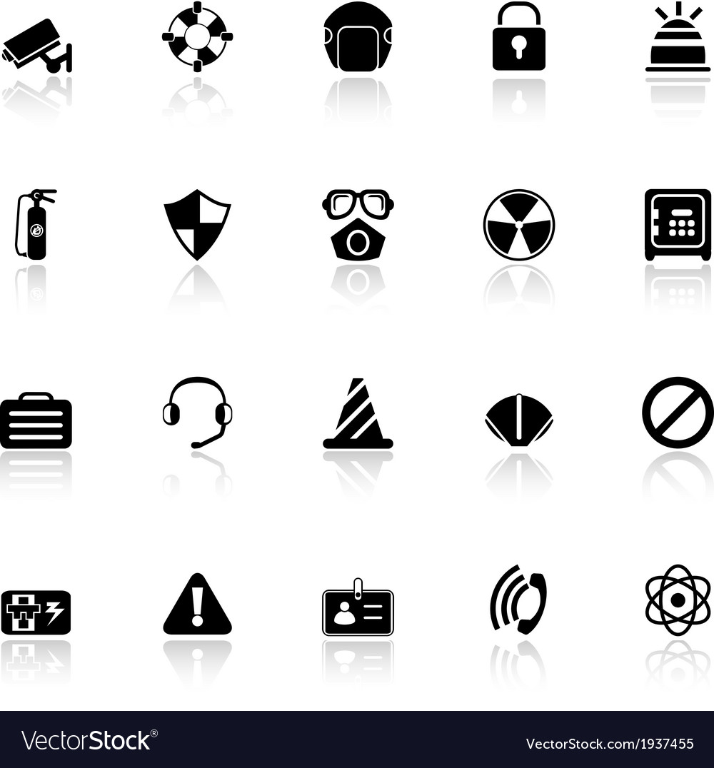 Safety icons with reflect on white background vector | Price: 1 Credit (USD $1)