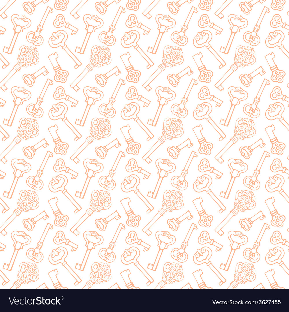 Seamless pattern with outline vintage keys vector | Price: 1 Credit (USD $1)