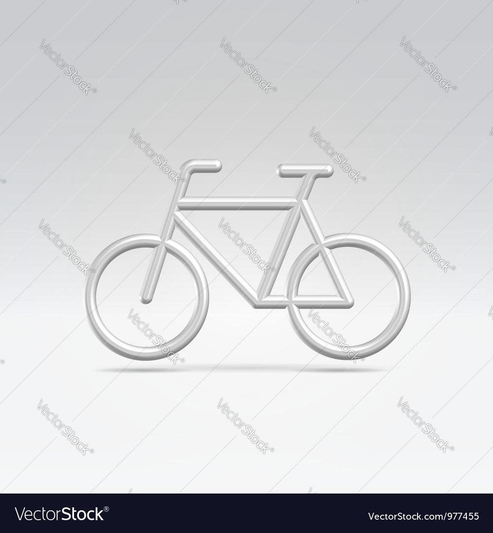 Silver bike icon over white vector | Price:  Credit (USD $)