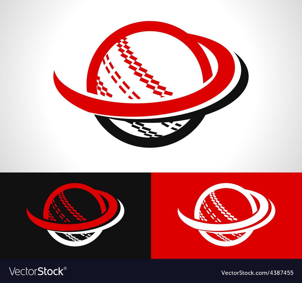 Swoosh cricket ball icon vector