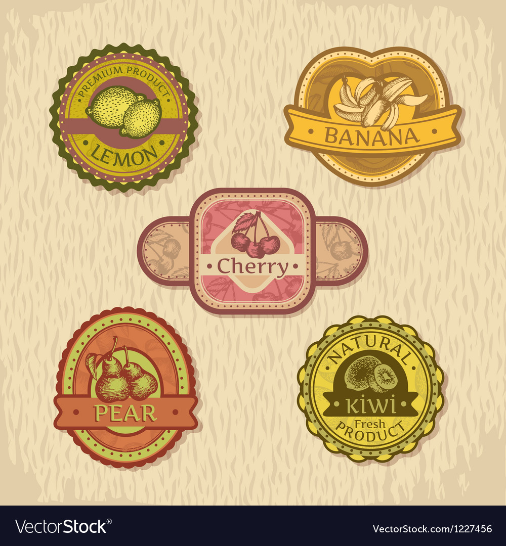 Abstract vintage style fruit label vector | Price: 3 Credit (USD $3)