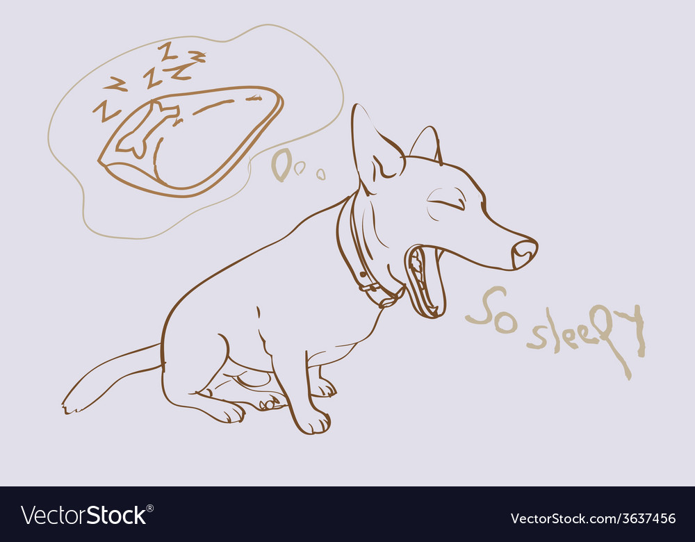 Adorable yawning dog vector | Price: 1 Credit (USD $1)