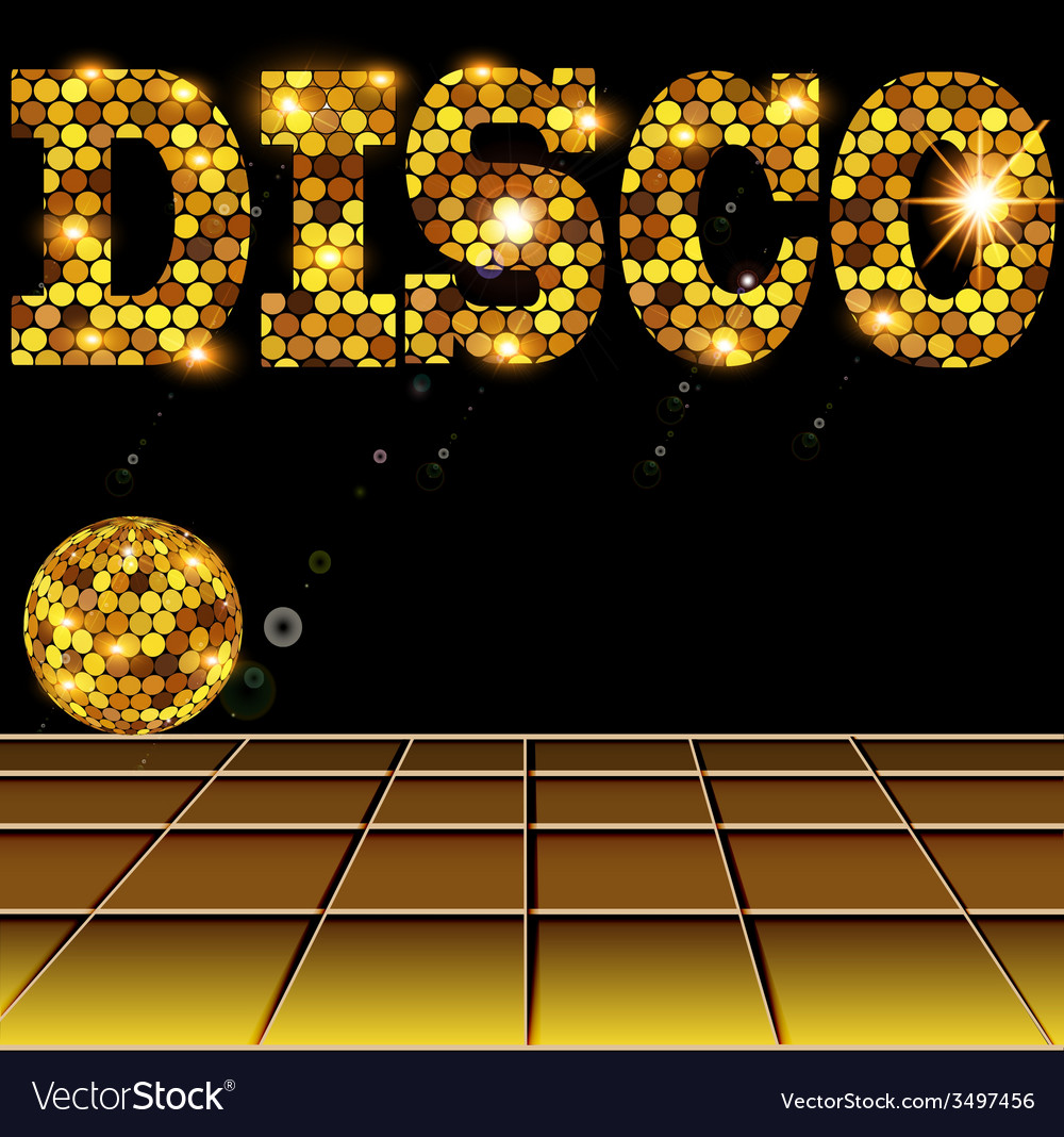 Background with golden disco vector | Price: 1 Credit (USD $1)