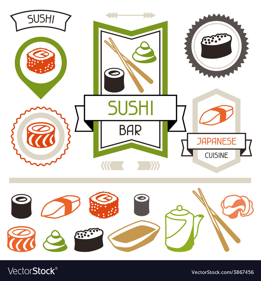 Badges and labels set with various sushi vector | Price: 1 Credit (USD $1)