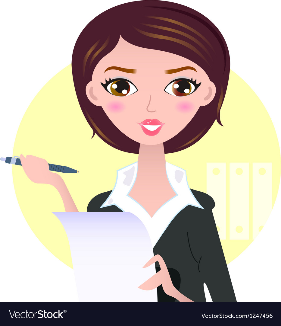 Beautiful business woman with pen vector | Price: 1 Credit (USD $1)