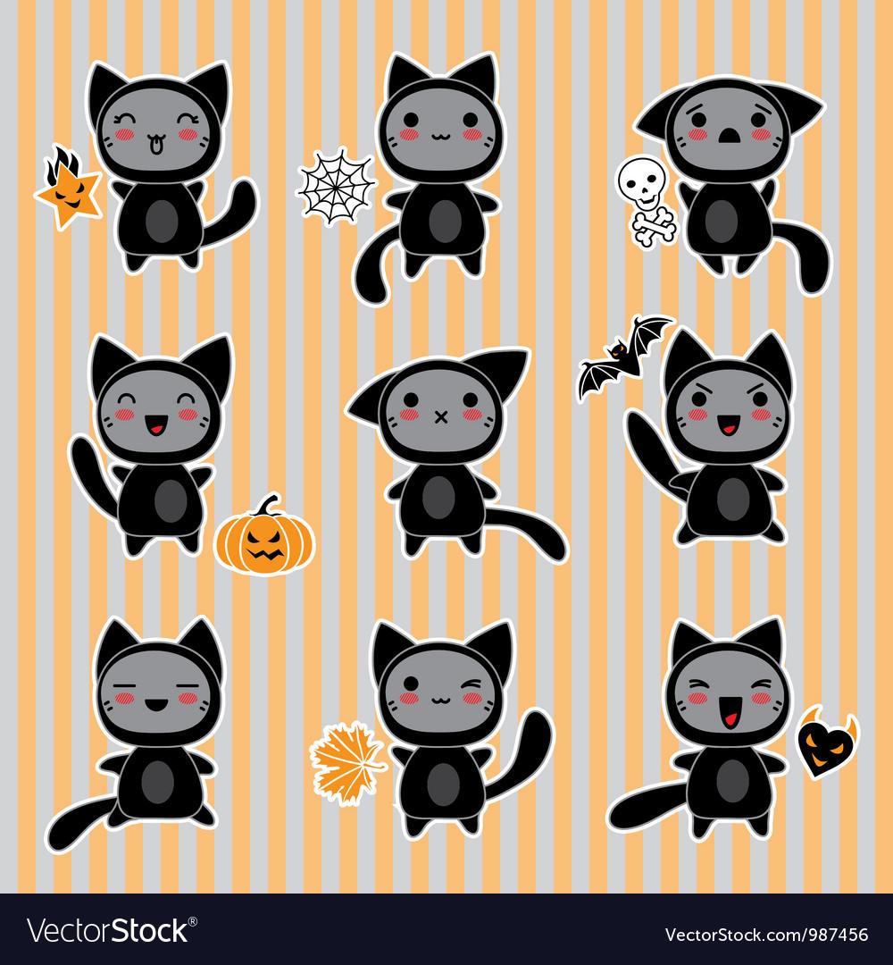 Halloween cartoon cat character vector | Price: 1 Credit (USD $1)