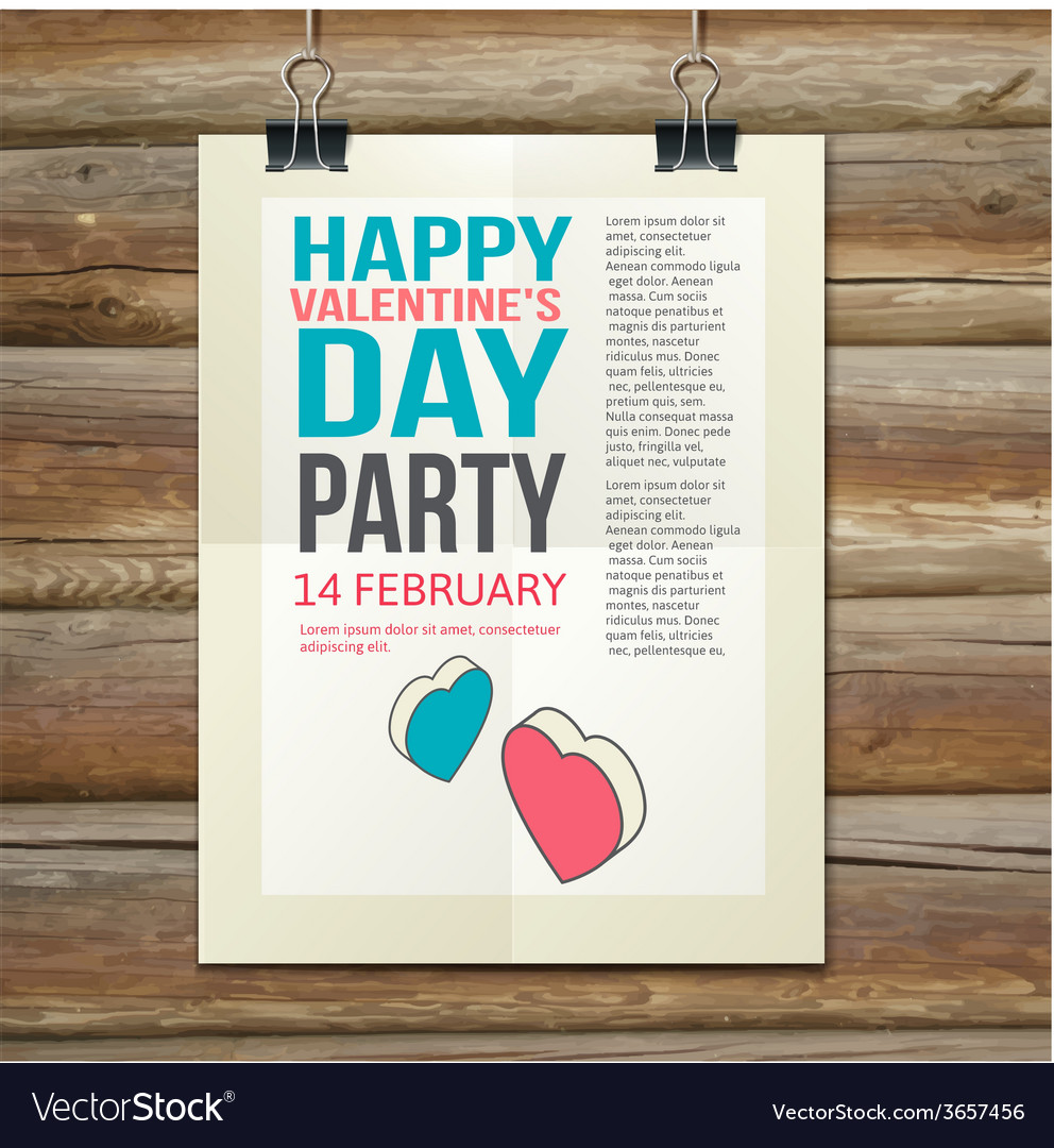 Happy valentines day party poster design template vector | Price: 1 Credit (USD $1)