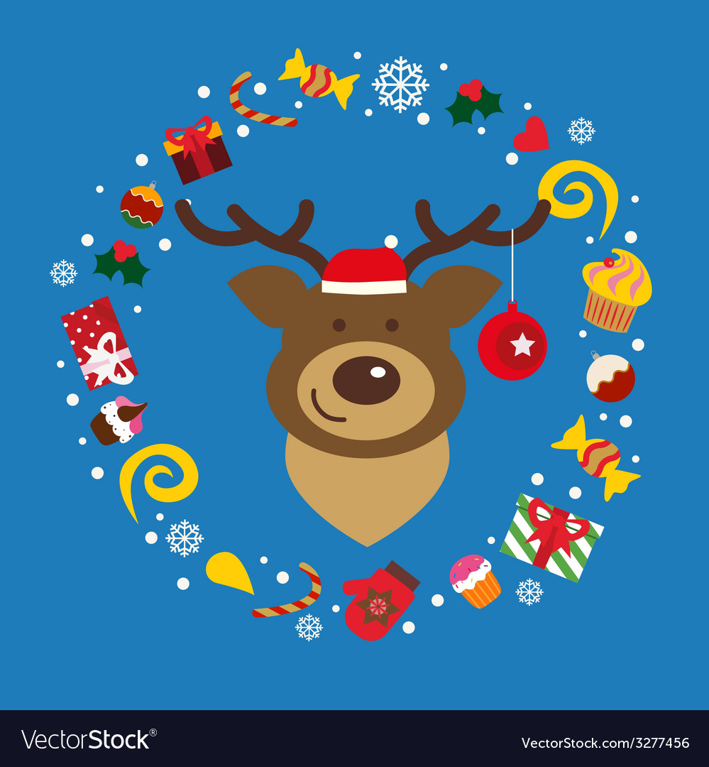 Holiday with deer vector | Price: 1 Credit (USD $1)