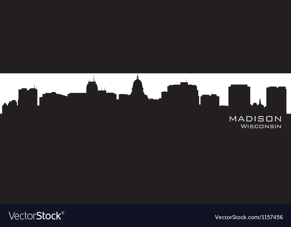 Madison wisconsin skyline detailed city silhouette vector | Price: 1 Credit (USD $1)