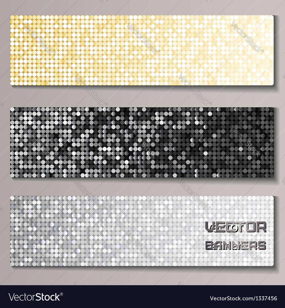 Set of banners with shiny metallic paillettes vector | Price: 1 Credit (USD $1)