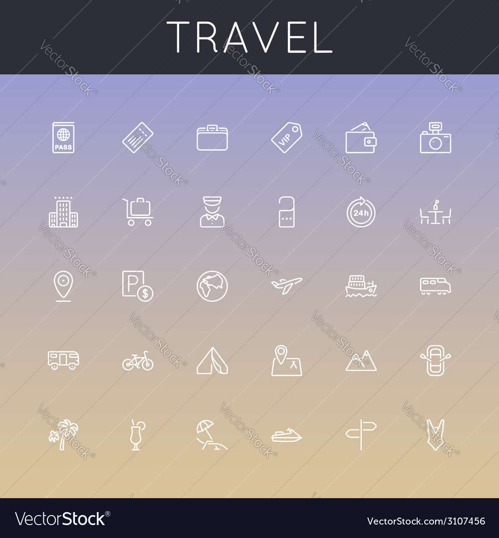 Travel line icons vector | Price: 1 Credit (USD $1)