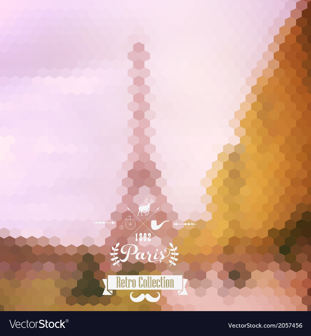 View on eiffel tower paris france blur background vector | Price: 1 Credit (USD $1)