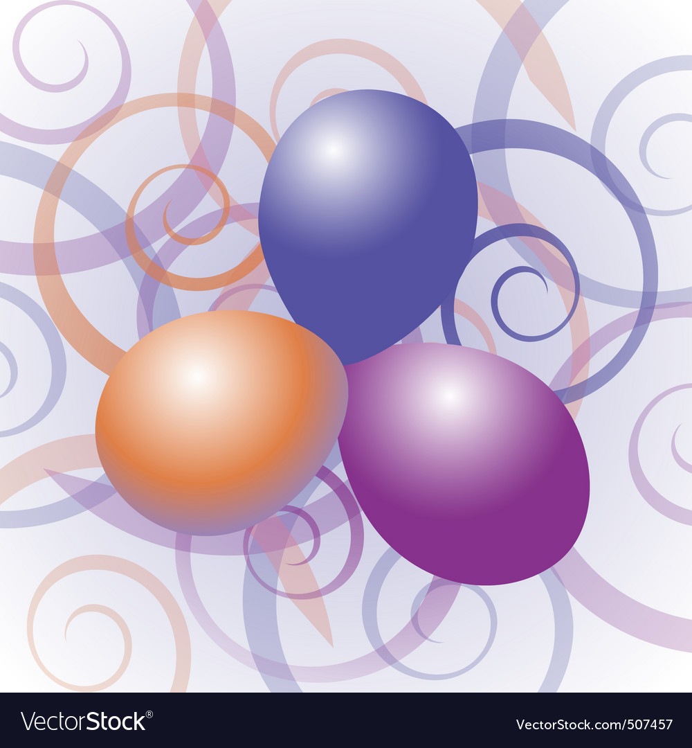 Balloons with swirl background vector | Price: 1 Credit (USD $1)