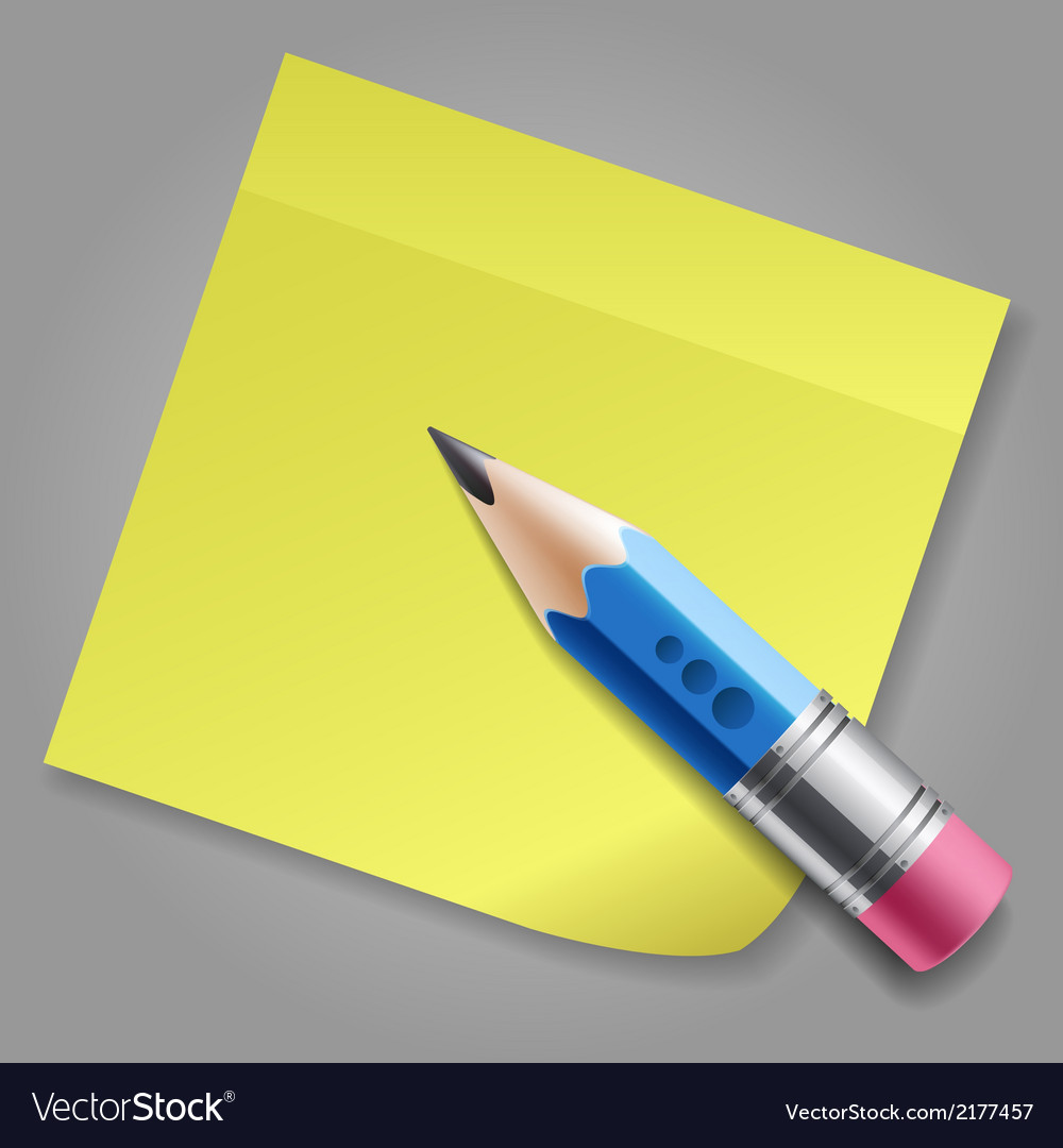 Blue pencil and yellow notepad page vector | Price: 1 Credit (USD $1)