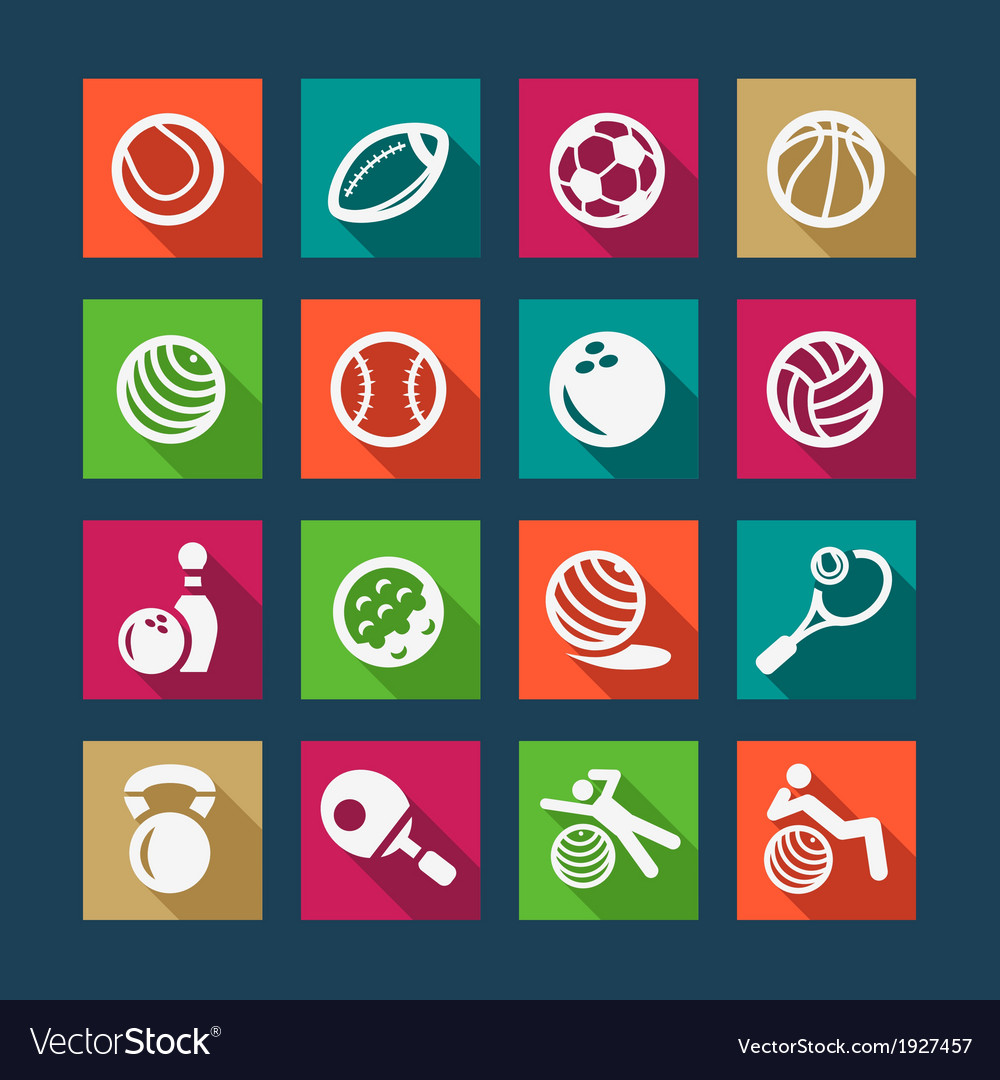 Flat sports and fitnes icons set vector | Price: 1 Credit (USD $1)