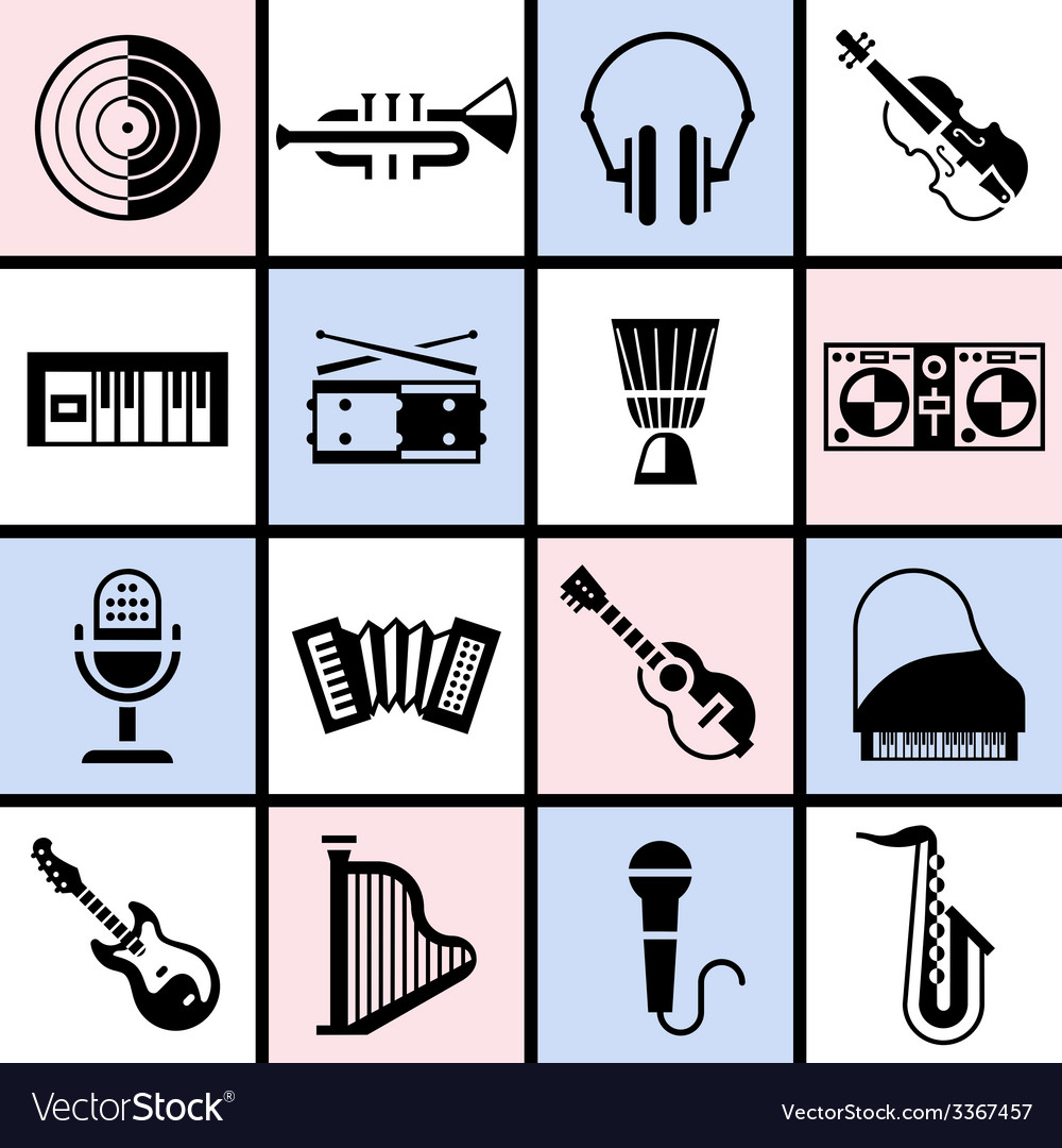 Musical instruments black set vector | Price: 1 Credit (USD $1)