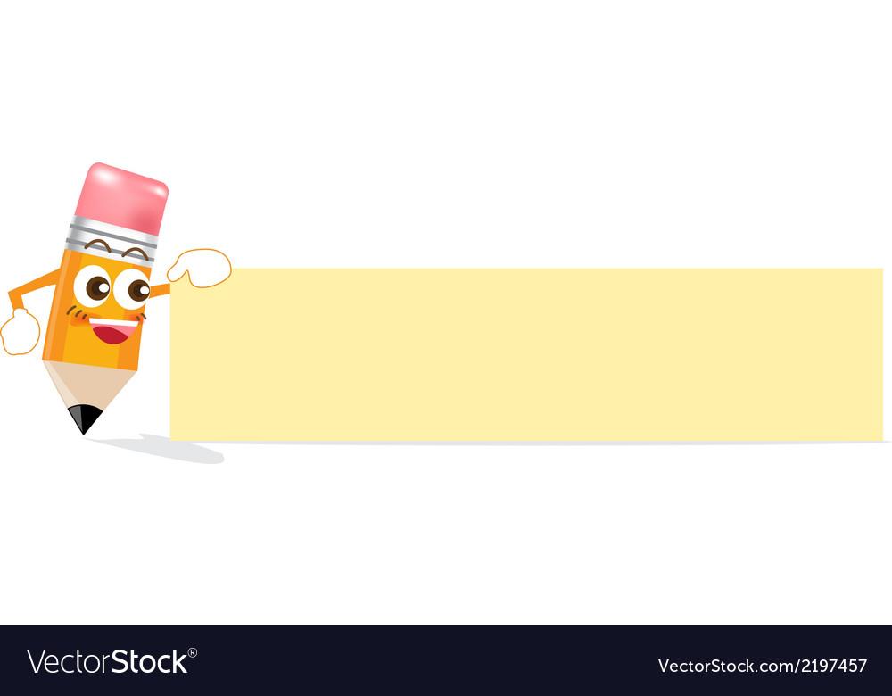 Pencil cartoon showing blank box vector | Price: 1 Credit (USD $1)